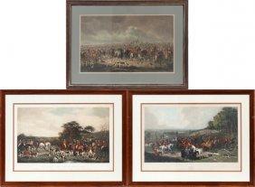 British Hand Colored Hunt Scene Prints, 3