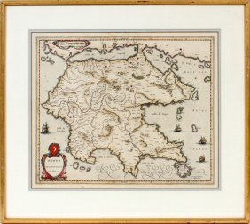 Hand Colored Engraved Map Antique