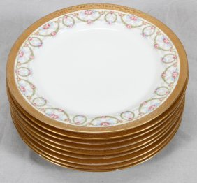 French Limoges Porcelain Dessert Plates C1920