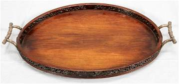 CHINESE TEAKWOOD GALLERY TRAY SILVERED HANDLES