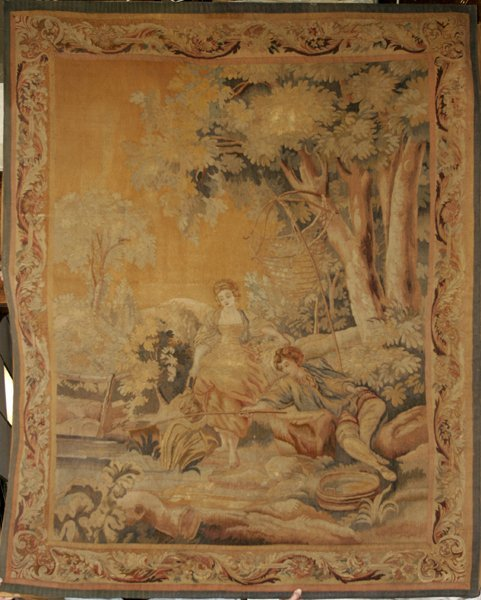 "030002: FRENCH TAPESTRY, 19TH C., 73""x92"""