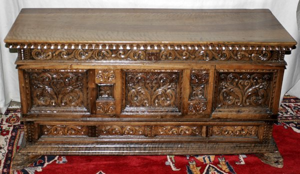 030003: ENGLISH CARVED GOTHIC STYLE WALNUT CHEST, W54""