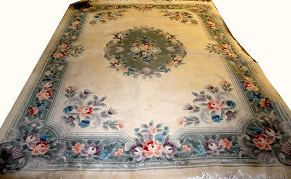 "030005: CHINESE SILK & WOOL CARPET, C 1950, 11'2""x8'2"""