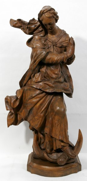 "030009: CARVED WOOD SCULPTURE, ""MARIA IMMACULATA"""