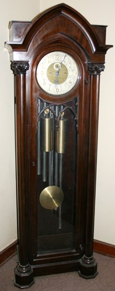 030012: COLONIAL MFG. CO. MAHOGANY GRANDFATHER CLOCK