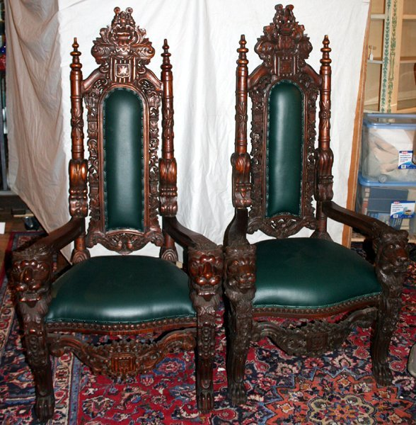 030013: GOTHIC STYLE MAHOGANY & LEATHER THRONE CHAIRS