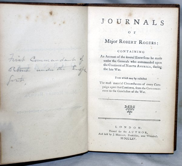 030020: MAJOR R ROGERS, JOURNALS OF MAJ. ROBERT ROGERS