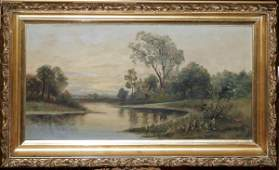 030354 J SPENCE OIL ON ARTIST BOARD LANDSCAPE