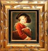 030439: PRINT ON ARTIST BOARD, YOUNG BOY W/ PORTFOLIO