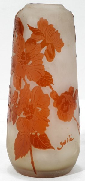 """031006: GALLE CARVED CAMEO GLASS VASE, H 7.3"""""""