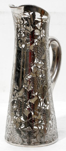 031014: ALVIN STERLING SILVER OVERLAY GLASS WINE EWER