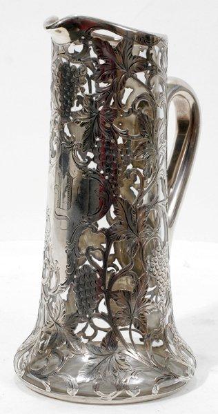 031015: ALVIN STERLING SILVER OVERLAY GLASS EWER
