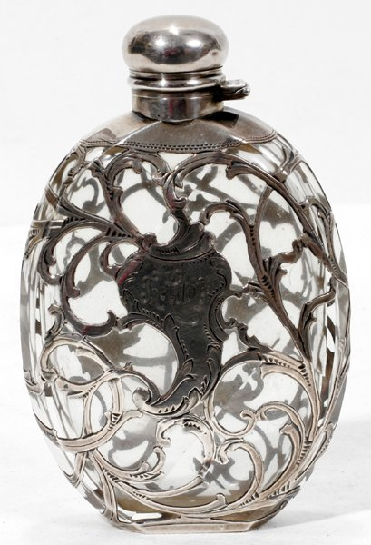 031016: ALVIN STERLING SILVER OVERLAY GLASS FLASK