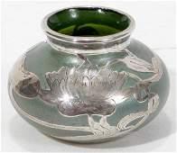 031018 ART NOUVEAU SILVER ON IRIDESCENT GLASS VASE