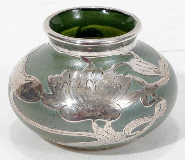 031018: ART NOUVEAU SILVER ON IRIDESCENT GLASS VASE