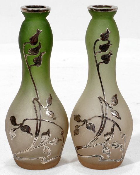 031019: ART NOUVEAU SILVER ON FROSTED GLASS BUD VASES