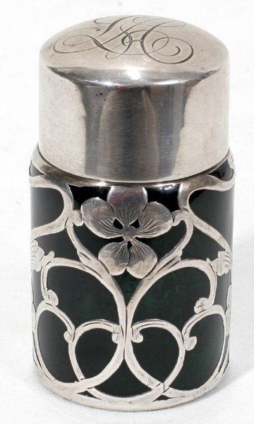 031020: ART NOUVEAU SILVER ON GREEN GLASS JAR