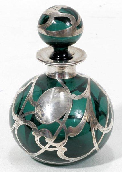 031021: ART NOUVEAU SILVER ON GLASS PERFUME BOTTLE
