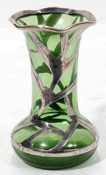 031022: ART NOUVEAU SILVER ON GREEN GLASS BUD VASE