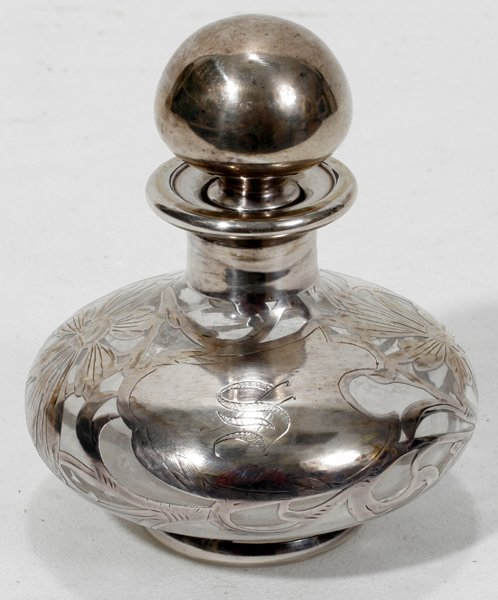 031023: ART NOUVEAU SILVER ON GLASS PERFUME BOTTLE
