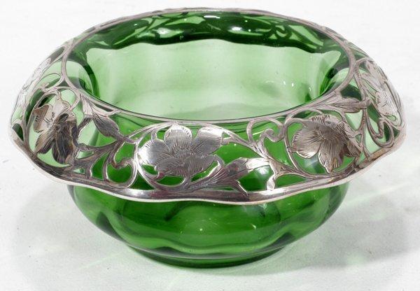 031024: ART NOUVEAU SILVER ON GREEN GLASS BOWL