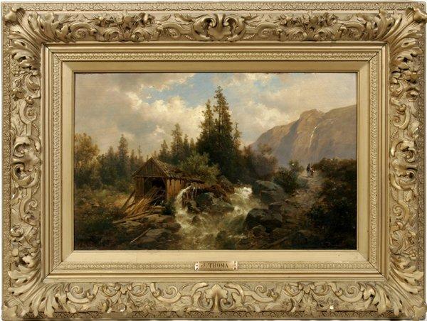 032002: JOSEF THOMA OIL ON PANEL, MOUNTAIN LANDSCAPE