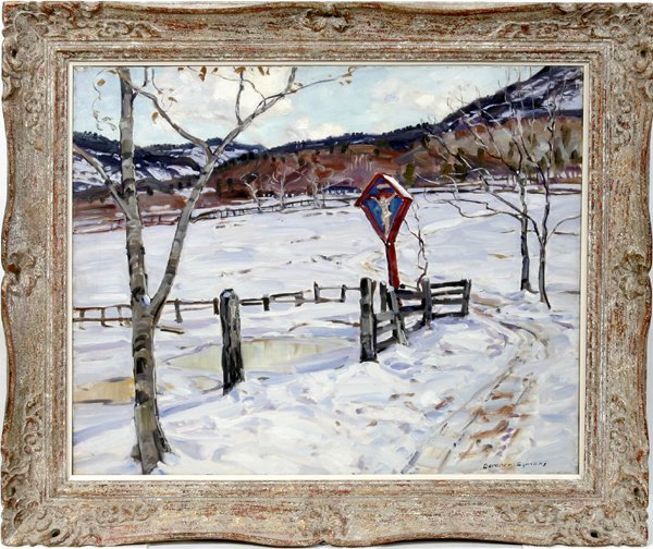 032009: GEORGE G. SYMONS OIL ON CANVAS, GROTTO IN SNOW