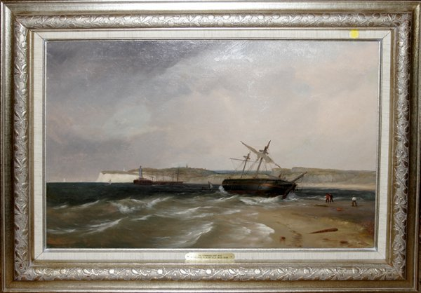 032013: GEORGE R BONFIELD OIL ON CANVAS, STRANDED SHIP