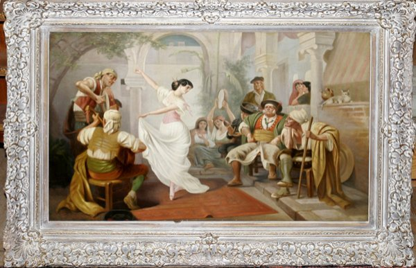 032023: DOMINIQUE BERTEAUX OIL ON CANVAS WOMAN DANCING
