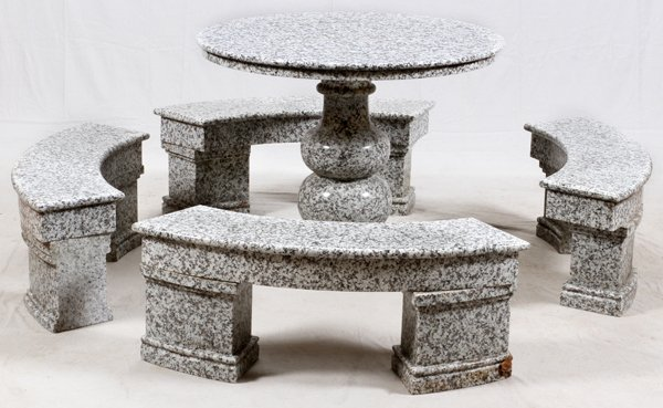 GRANITE TABLE AND BENCHES
