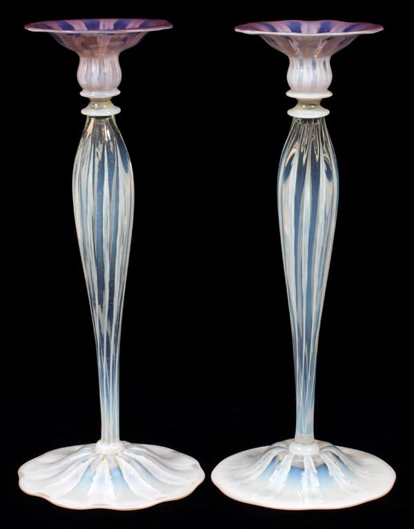 L. C. TIFFANY ROSE PASTEL GLASS CANDLESTICKS