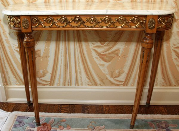 LOUIS XVI STYLE WALNUT CONSOLE TABLE W/ MARBLE TOP