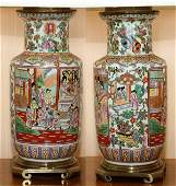 CHINESE ROSE MEDALLION VASES PAIR MOUNTED AS LAMPS