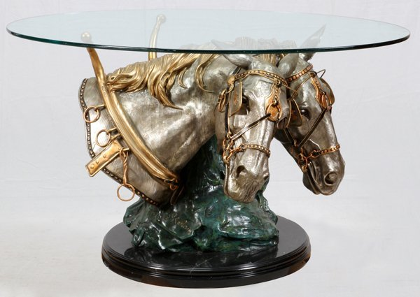 S. KELIAM DRAFT HORSE FORM BRONZE AND PEWTER TABLE