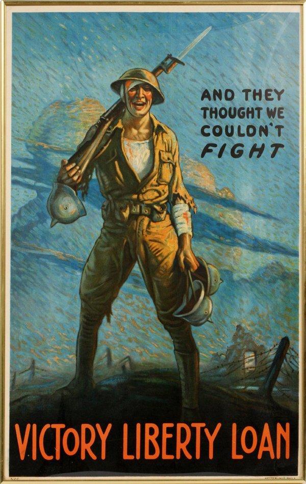 WWI U.S. PROPAGANDA POSTER 1918 LELKER-LINUS PADFRY