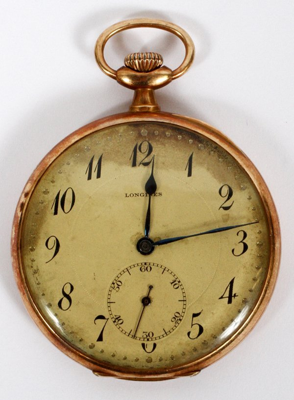 LONGINES OPEN FACE GOLD POCKET WATCH CIRCA 1903