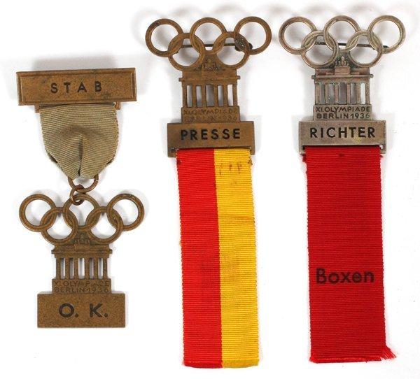 1936 BERLIN OLYMPIC PARTICIPATION BADGES, 1936, 3 PCS