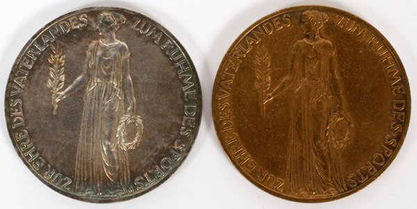 1936 OLYMPIC SILVER AND BRONZE VISITOR'S MEDALS