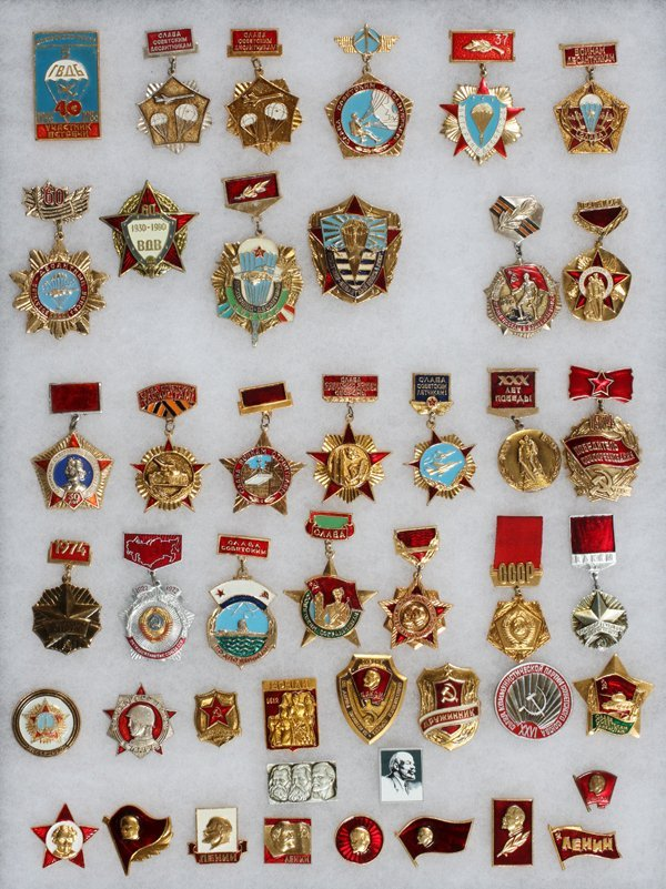 USSR ENAMEL MEDALS BADGES BUTTONS ETC.