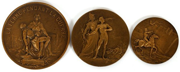 ALLOUARDY LOUDRAY & MONTAGNY BRONZE MEDALS 3 PIECES