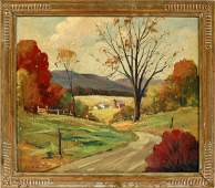 GEORGE G. JOHNS OIL ON CANVAS BOARD 1946
