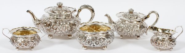 AMERICAN REPOUSSE STERLING TEA SET EARLY 20TH C.