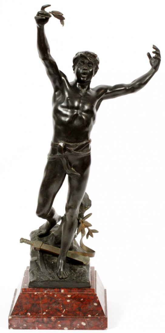 FRENCH PATINATED BRONZE SCULPTURE LATE 19TH C.