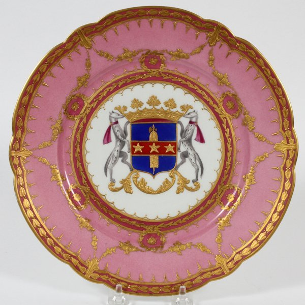 SEVRES ARMORIAL PORCELAIN CABINET PLATE 19TH C.