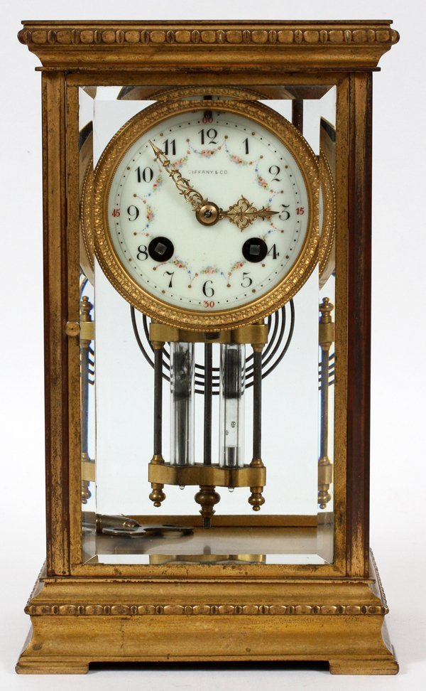 FRENCH BRASS MANTEL CLOCK FOR TIFFANY & CO.