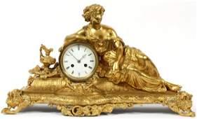 LOUIS XVI STYLE DORE BRONZE FIGURAL MANTEL CLOCK