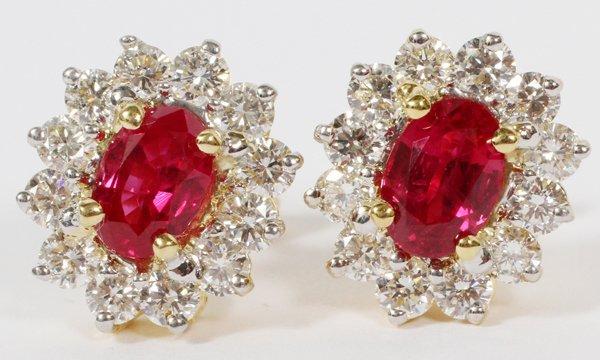 2CT BURMESE RUBY & DIAMOND EARRINGS PAIR