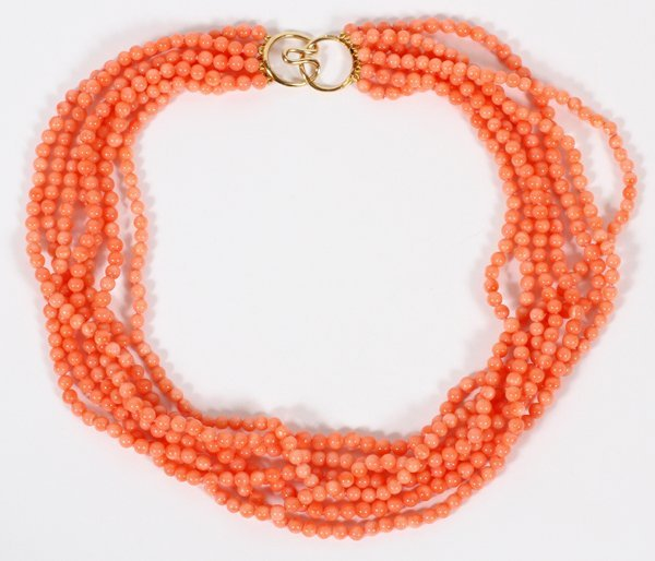CORAL BEAD NECKLACE W/ YELLOW GOLD CLASP