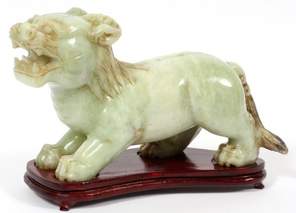 CHINESE CARVED JADE FU LION
