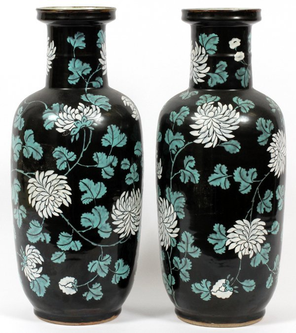 CHINESE ENAMELED PORCELAIN VASES PAIR